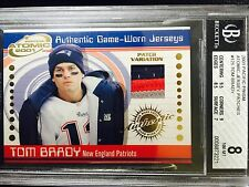 2001 TOM BRADY Pacific Prism ATOMIC PATCH *1ST RC JERSEY CARD GOAT 3 CLR! BGS 8!