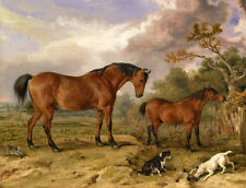 Excellent Oil painting two red horses with two dogs rabbit hare in landscape 36""