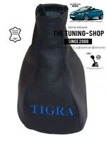 "Gear Gaiter For Vauxhall Tigra B TwinTop 2004-2009 Leather ""TIGRA"" Blue Logo"