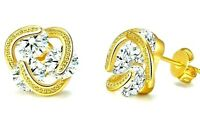 14K Gold Love Knot Stud Earrings CZ Crystal Made in ITALY USA Seller
