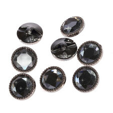 25 x 22mm Gun Metal Round Glass Buttons Faceted Crystal Diamante Rhinestone