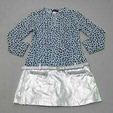 Kate Mack Girls Dress 4 Belted Blue Silver Animal Printed Drop Waist New kg1
