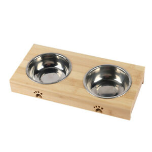 Elevated Dog Bowls Eco-Friendly Feeder with Bamboo Holder &Stainless Double Bowl