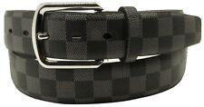 Men Women Designer Checkers Style Bonded Leather Belt Silver Chrome Metal Buckle