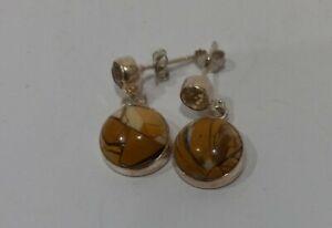 Vintage Solid 925 Sterling TIGERS EYE & CITRINE Gemstones  Earrings