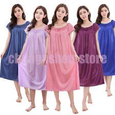 Ladies Shiny Satin Silky Nightdress Chemise Nightie Nightshirt with Short Sleeve