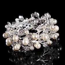 Pearl Crystal Rhinestone Bangle Stretch Leaf Wristband Bracelet Bridal Jewelry