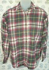 HAZEL CREEK Women's Medium Green Red Blue Beige Plaid Cotton LS Button Shirt EUC
