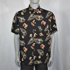 Knightsbridge Mens XL Black Hawaiian Shirt Short Sleeve Button Up Wood Buttons