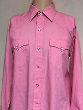 VTG 80s H BAR C PEARL SNAP PINK WESTERN SHIRT Long Sleeve USA Size 16 1/2 x 34