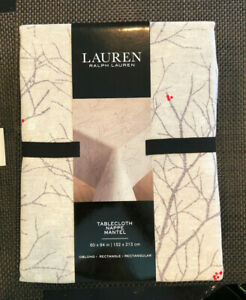 """Ralph Lauren WINTER BRANCHES Gray, Taupe & Red 60 x 84"""" Tablecloth--NWT"""