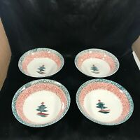 Set of 4 GIBSON Housewares China Spongeware Christmas Tree Cereal Bowls