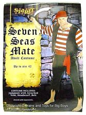 SEVEN SEAS MATE PIRATE HALLOWEEN COSTUME MEN'S One Size Up to 42 Pirates New I