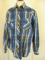 Men's L Wrangler Western Pearl Snap Shirt Long Sleeve Plaid Heavy Flannel Blue