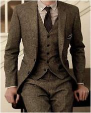 Men's Brown Tweed Herringbone Check Tan Tuxedos Groom Slim Fit Suit Custom Made