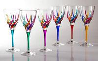 GLASSWARE - VENETIAN CARNEVALE WINE GLASSES - SET OF SIX - HAND PAINTED CRYSTAL