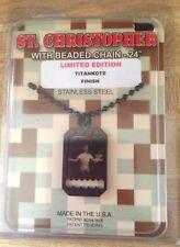 Gi Jewelry Us Military Black Saint Christopher Titan-Kote Subdued Necklace