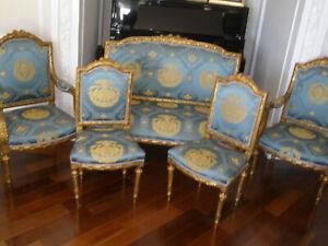 RARE FRENCH ANTIQUE 19TH CENTURY LOUIS XVI GILT 5 PC SOFA,ARM CHAIRS,CHAIRS SET