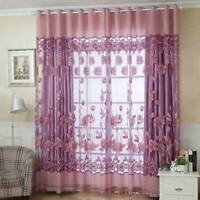 Floral Yarn Printed Lotus Theme Curtain Tulle Voile Sheer Panel Home Decor JJ