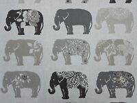 Clarke and Clarke Elephants Natural Designer Curtain Upholstery Craft Fabric