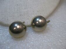 "Crown Trifari Silver/Gold Clip Earrings, 2/3"", domed button stud, 1960's"