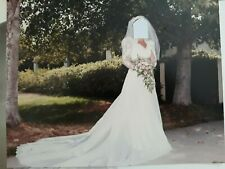 Vintage Custom 1980's Wedding Dress With Vail Professional Cleaned and Packaged