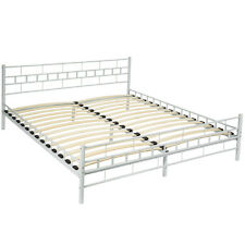 Double metal bed frame super king size bedroom 180x200cm white + slatted frame