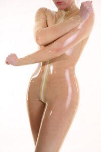 100% Latex Rubber Unique Transparent Bodysuit Zipper Catsuit Suit Size S-XXL
