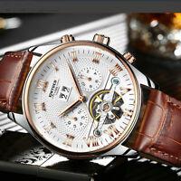 Luxury KINYUED Mens Automatic Skeleton Tourbillon Mechanical Wrist Watch Date