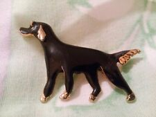 Coloured Dog Brooch A Black Enamel