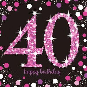 16 x Pink Celebration Age 40 Napkins pink & Black 40th Birthday napkins