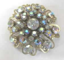 Antique Prong Set Aurora Borealis Crystal Of 3D Layers In Heart Brass Pin