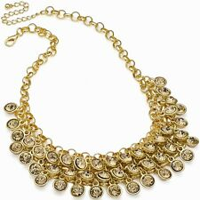 Champagne colour crystal cascading gold colour choker necklace fashion jewellery
