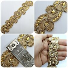 Indian Gold Sequin Heart Zari Sari Border Decorative Trim 1M