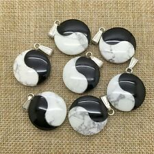 Onyx And White Turquoise Yin Yang Natural Stone Pendant Necklace