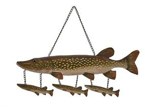 Northern Pike Wood Carving Wall Art Cabin Rustic Decor