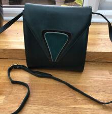 Leather Bally Bag In Dark Green / Art Deco Style / Crossbody Or Clutch/ Vintage