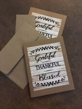 note cards 6 w envelopes set of 6 Grateful Blessed blank inside FREE SHIPPING