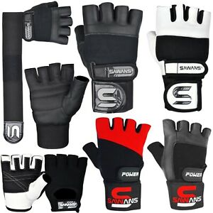 SAWANS® Gym Weight Lifting Gloves Leather Training Straps Body Building Workouts