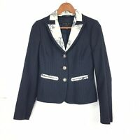 Coast 8 UK Blazer Jacket Navy Blue Striped Texture Floral Satin Collar Tailored