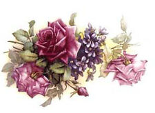 SPecTaCuLaR!! VinTaGe IMaGe PinK RoSeS & VioLeTs SWaGs SHaBbY WaTerSLiDe DeCALs