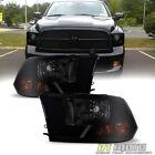 2009-2018 Dodge Ram 1500 10-18 2500 3500 Blk Smoke Headlight Headlamp Left+Right  for sale