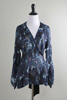 MAX AZRIA COLLECTION $258 Bcbg Silk Semi Sheer Tie Back Blouse Top Size XS