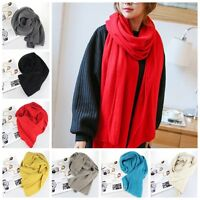 Women Solid Color Long Stole Knitted Pashmina Soft Shawl Scarf Winter Warm Wrap