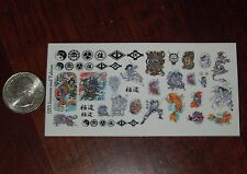 1/12 Scale Custom Tattoos: Japanese and Yakuza variety pack - Waterslide Decals