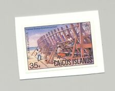 Caicos #16 Ship Building 1v Imperf Proof on Card