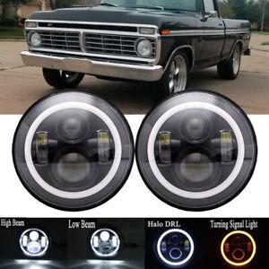 "7"" LED Headlights Plain Black Halo For Ford Bronco PickUp F100 F150 F250 F350"
