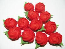 60 Red Rose Swirls handmade royal icing edible sugar cake decorations