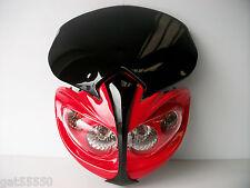 New Universal Motorcycle Headlight Streetfighter Enduro Alien Red Honda Cbr Crf