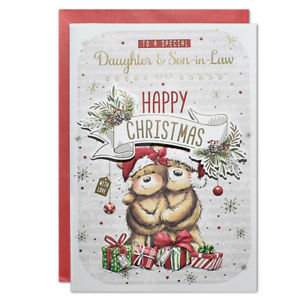 DAUGHTER & SON~IN~LAW CHRISTMAS CARD ~ LARGE SIZE QUALITY CARD ~ CUTE DESIGN